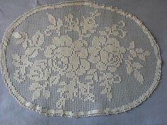 Beautiful Vintage Handmade Filet Tablecloth (Small)