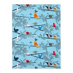 Cute fabric! I think the birds are cute! I might get this fabric to reupholster my couch pillows.