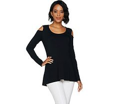 Isaac Mizrahi Live! Cold Shoulder Scoop Neck Peplum Top
