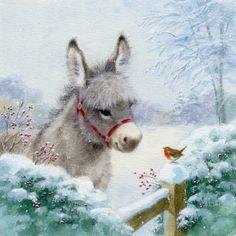Christmas Donkey, Cute Christmas Cards, Christmas Scenes, Christmas Animals, Christmas Pictures, Christmas Art, Christmas Drawing, Christmas Paintings, Animal Paintings