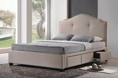 Baxton Studio Armeena Beige Linen Modern Storage Bed with Upholstered Headboard - King Size | Interior Express