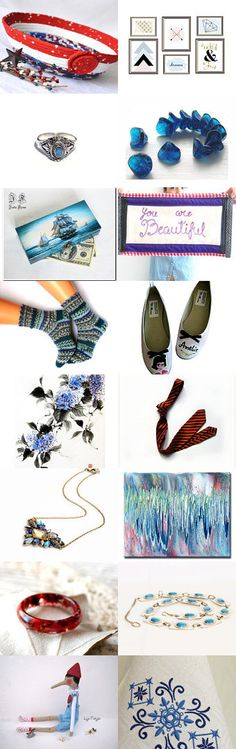 Love this Etsy Treasury by Fibernique.... Red Meets Blue by Julia on Etsy-  Fun patriotic basket, handmade gifts. -Pinned with TreasuryPin.com