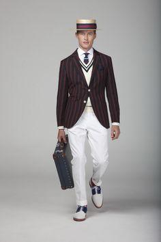 Hackett Navy - Bordeaux Striped Blazer, Boater Hat, White Cotton Trousers and Crockett & Jones Shoes