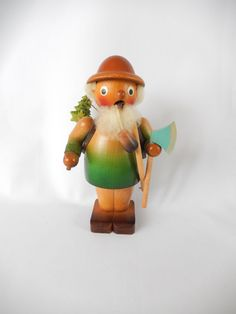 vintage Erzgebirge smoker, Germany, wooden incense burner, woodsman, bringing home the Christmas tree, vintage Christmas decor by brixiana on Etsy https://www.etsy.com/listing/267667546/vintage-erzgebirge-smoker-germany-wooden