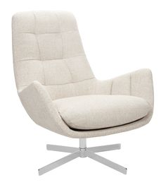 Dena - Armchair made of fabric, off-white brushed metal legs - Habitat