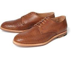 Hudson Shoes - Hadstone tan leather weave derbys