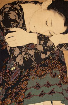 "Ikenaga Yasunari, ""Sachiko,"" Linen Canvas/Mineral pigments/ Gelatin glue/Soot ink/Pure gold (Japanese Mineral Pigment Painting)"
