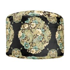 """Title : 30, Damask Floral Collage on Black Design Pouf  Description : These designs are a mix of """"Leather-Fabrics-Animal Skin Prints"""", and other fabric patterns, such as Damask, Jacquard, Brocade to add an Elegant Style to your Home decor.  Product Description : <div>  Fabric: Grade A Woven Cotton    <div>    <p>Poufs are an easy way to incorporate more seating into a space that requires flexibility within its usage, without committing to larger furniture pieces. Custom poufs are an easy…"""