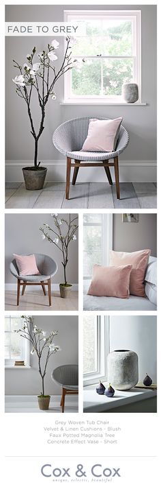 Bedroom Makeover Ideas - Find a corner of calm in your home with soothing grey tones, framed by our Faux Potted Magnolia tree and accented with feminine blush. Pink Bedroom Decor, Bedroom Colors, Home Bedroom, Blush Pink And Grey Bedroom, Bedroom Ideas, Bedrooms, My Living Room, Living Room Decor, Living Spaces