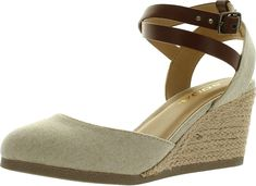 c28134ab0c5 Soda Womens Request Closed Toe Espadrille Wedge Sandal In Natural Tan Linen     See this