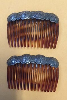 Pair Vintage Antique Sterling Silver Hair Combs Jewelry Mexico | eBay