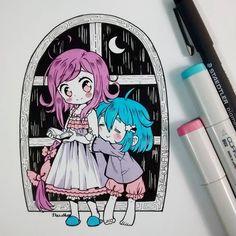 #inktober Día.... 6: oyasumi Michan. Estos dos no se conocen así que es un crossover(?) :'3 Bueno, ya era hora de dibujar a Michan, soy la peor madre (* ;Č; *) #chibi #kawaii #moe #cute #oyasumi #traditional #inktober2016 #copicmarkers #copicsketch #copicciao #tsuki #mangastyle #beautygirl #kawaiigirl #adorable #instadraw #instaanime #instaart #ink