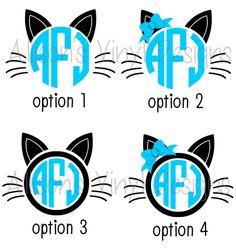 Cat Monogram Decal - Monogram Cat Decal - Monogram Car Decal - Monogram Decal…
