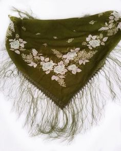 Olive Green scarf Crochet lace trim Russian shawl by BlingScarves