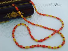 Collana lunga  long necklace with orange and by Acasaconmanu