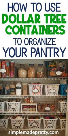 Pantry organization dollar store, pantry organization dollar tree, pantry dollar tree kitchen organization, pantry - Home decor interests Small Pantry Organization, Dollar Tree Organization, Organize Food Pantry, Organizing Ideas For Kitchen, Closet Organisation, Organized Pantry, Shelves For Pantry, Organization Ideas For Pantry, Organizing Kitchen Cabinets