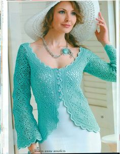 Irish lace, crochet, crochet patterns, clothing and decorations for the house, crocheted. Crochet Bolero, Cardigan Au Crochet, Crochet Cardigan, Irish Crochet, Crochet Top, Irish Lace, Handmade Clothes, Crochet Clothes, Ideias Fashion