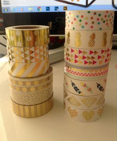 Washi Tape-24 Sample/ gold foil washi by KittysGiftsNMore on Etsy