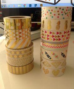 "Washi Tape-24 ""échantillon / or papier washi tape/plumes/diamants/points/rayures/triangles/ananas"