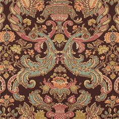 Grand Floral Brown Red and Blue. This is a brown,red and blue floral drapery fabric suitable for any decor you have, such as drapes, bedding and pillows and much more.v145HEF