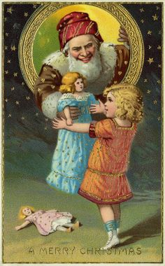 vintage everyday: 10 Vintage Sinister Santa Christmas Cards from the Late 19th and Early 20th Centuries That Terrify the Tinsel Out of Us
