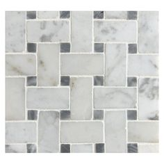 Grey dots are varied  Basketweave Mosaic Tile | Polished Bianco Carrara Marble with Bardiglio Dot