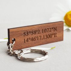 Personalised  Keyring in Wood, Custom Coordinate Wooden Key Ring with Engraved Latitude Longitude Coordinates