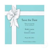 Tiffany Blue Blue Gift Box Design Save the Date Card Invitations by PM Custom Weddings #weddings #tiffany #blue Price is reduced with higher quantities - $1.70