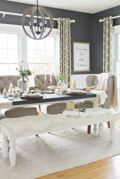 Holiday Dining Room- Plaid Runner, Eucalyptus, Log Slices, Ikat Drapes-West Elm… Lets talk modern farmhouse dining tables. I have bounced around getting a new table since we moved into our house 6 years ago & I think I am finally ready. Modern Rustic Dining Table, Modern Farmhouse, Farmhouse Dining Room Table, Dining Tables, Farmhouse Style, City Farmhouse, Dinning Room Centerpieces, Farmhouse Decor, Rustic Kitchen
