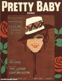 """""""Pretty Baby Song"""" ~ Vintage sheet music cover."""