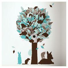 Wandtattoo Baum & Punktetiere türkis 145cm