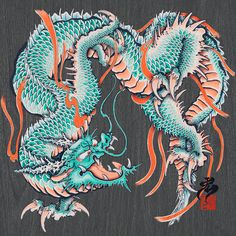 I painted Dragon. This is Digi-UKIYOE series. Artwork made by Procreate application. Japanese Dragon Tattoos, Japanese Tattoo Art, Dragon Head Tattoo, Japanese Woodcut, Graffiti, Dragon Sketch, Cool Dragons, Traditional Japanese Art, Shiva Art
