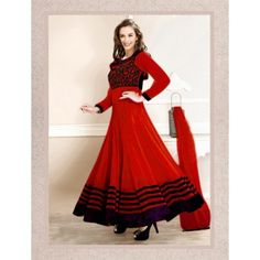 11101_Evelyn sharma Red Embroidered Ankle length anarkali suit