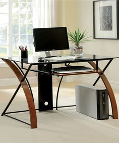 Take a look at this Oak Leonardo Computer Desk by Furniture of America on #zulily today! $400 !!