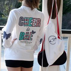 Cheer Is Bae Long Sleeve Tee with Logo Backpack