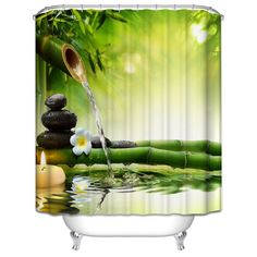 Jasmine Flower Decorations Green Bamboos / Fall Trees / Star Fish Sea Shell Waterproof Shower Curtain //Price: $19.23 & FREE Shipping //     #style