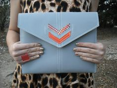 $68, Chevron iPad Case + Envelope Clutch by *annemarie*, Austin, Texas, Grey, Orange