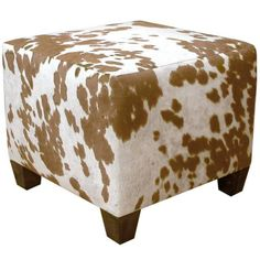 inexpensive furniture cowhide ottoman