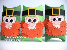 leprechaun pillow box for st patricks day Toilet Paper Roll Crafts, Paper Crafts, Diy Bag Tags, Happy St Paddys Day, Holiday Countdown, Different Holidays, Treat Holder, Luck Of The Irish, Pillow Box