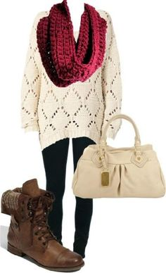 I freaken LOVE the boots! Different sweater this would be the cutest outfit ever! And its easy to create!