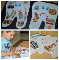 """Preschool dental education dental lessons Hygiene Lesson - Happy Tooth, Sad Tooth Collage: What makes our teeth """"happy"""" and """"sad""""? Health Activities, Classroom Activities, Preschool Activities, Hygiene Lessons, Health Lessons, Preschool Lessons, Preschool Crafts, Kids Crafts, Dental Health Month"""