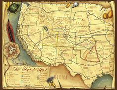 A map of the Weird West, as it appears in the Deadlands RPG...best game ever
