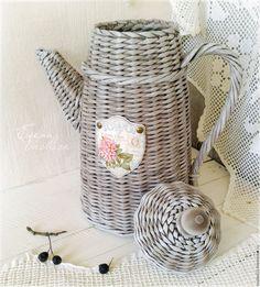"""Купить Старый кофейник """"Английская роза"""" - кофейник старый, плетеный, чайник винтажный, декоративный кофейник"""