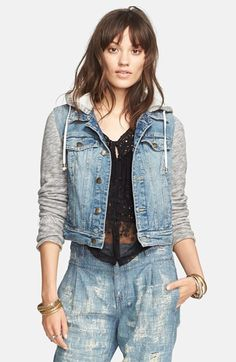 Free People Denim & Knit Jacket available at #Nordstrom
