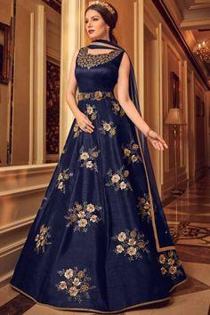Get Fabulous Navy Blue Color Silk Designer Anarkali Suit latest designer party wear salwar suits, wedding wear anarkali dress for women at VJV Fashions Eid Dresses, Indian Dresses, Indian Outfits, Fashion Dresses, Designer Anarkali, Designer Gowns, Indian Designer Wear, Silk Anarkali Suits, Anarkali Gown