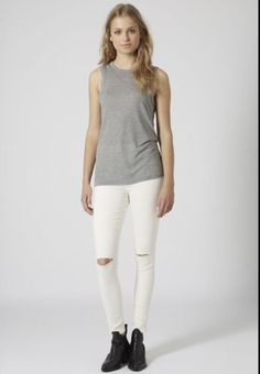 Topshop-Jamie-Jeans-Winter-White-W26-L30-Ripped-Knees-6-8