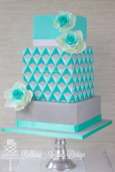 "Bellaria Cakes Design by Riany Clement | ""Escher in summertime"" wedding anniversary cake. Fantastic tile design on the middle tier!"