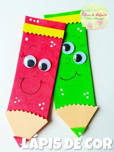 Mimos de Infância Paper Crafts For Kids, Felt Crafts, Diy For Kids, Diy And Crafts, Paper Crafting, Arts And Crafts, Preschool Crafts, Preschool Activities, Pencil Crafts