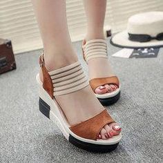 Showing image for Women Korean Fashion Brown High Wedge Sandals Black Platform Sandals, Suede Sandals, Platform Shoes, Platform Wedge, Shoes Sandals, Footwear Shoes, Shoes Sneakers, Womens Summer Shoes, Womens Shoes Wedges