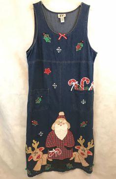 336b41b824 Original TY2 Denim Christmas Jumper Plus Size SANTA Claus Size 2X | Clothing,  Shoes &